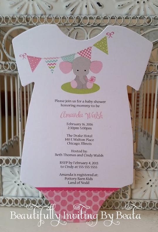 Baby Elephant Baby Shower Invitation  Pink And Gray Baby Shower Baby Boy  Shower   Custom Diaper Die Cut Invitation