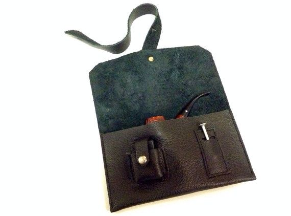 Leather pipe pouch with lighter and tool pocket on Etsy, $80.00
