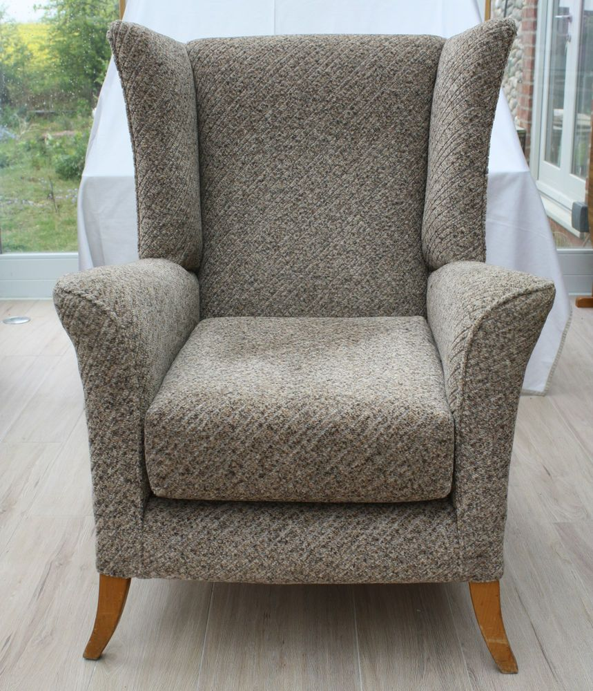 Vintage 1950s 60s Solid Beech Framed Wingback Armchair