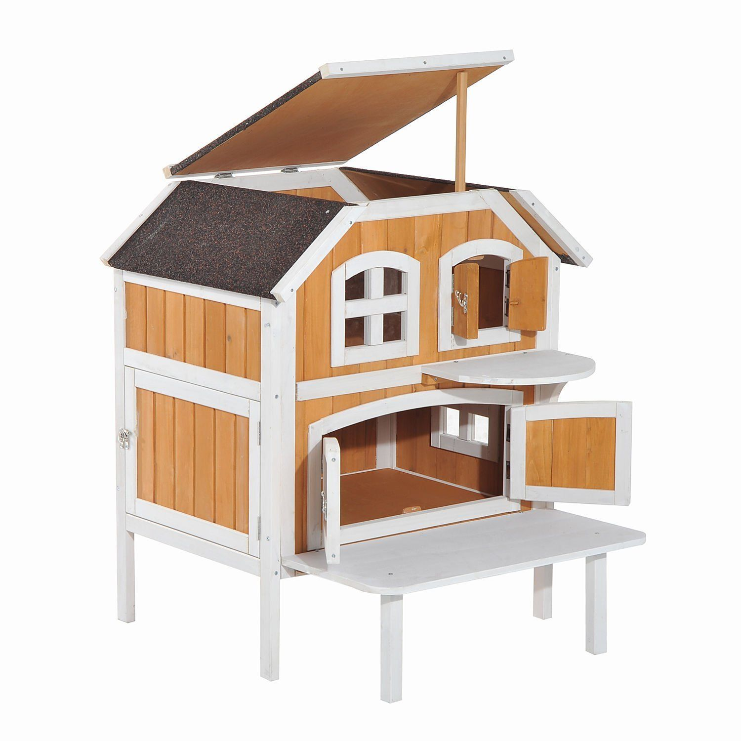 Cat House For Outdoor Indoor Cats Wooden Raised Elevated Home