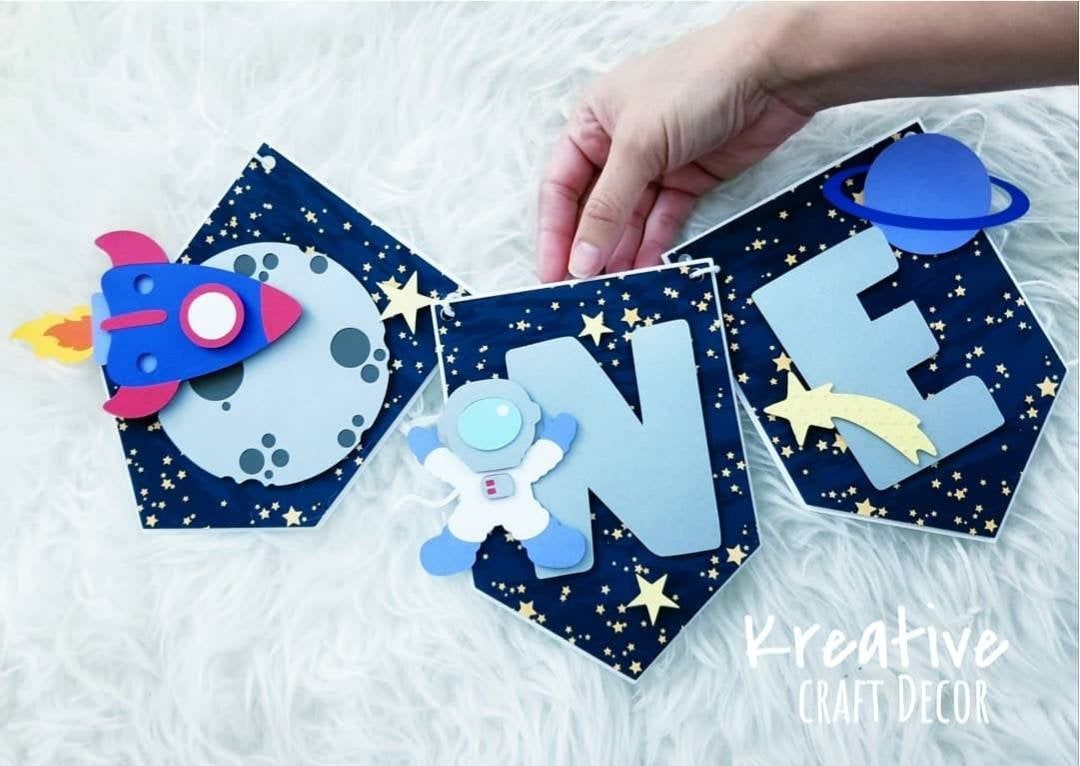 Outer space One banner/ highchair banner/ one banner/ photo banner/Outer space party decoration/ Outer space custom banner/Outer space party