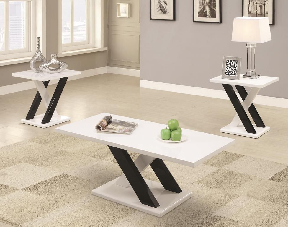 Best Contemporary Black White 3 Pc Table Set Coaster 701011 400 x 300
