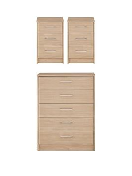 Best Barlow Ready Assembled 3 Piece Package Chest Of 5 400 x 300