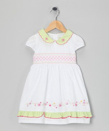 Take a look at this White & Green Scalloped Collar Dress - Infant, Toddler & Girls by Lil Cactus on #zulily today!