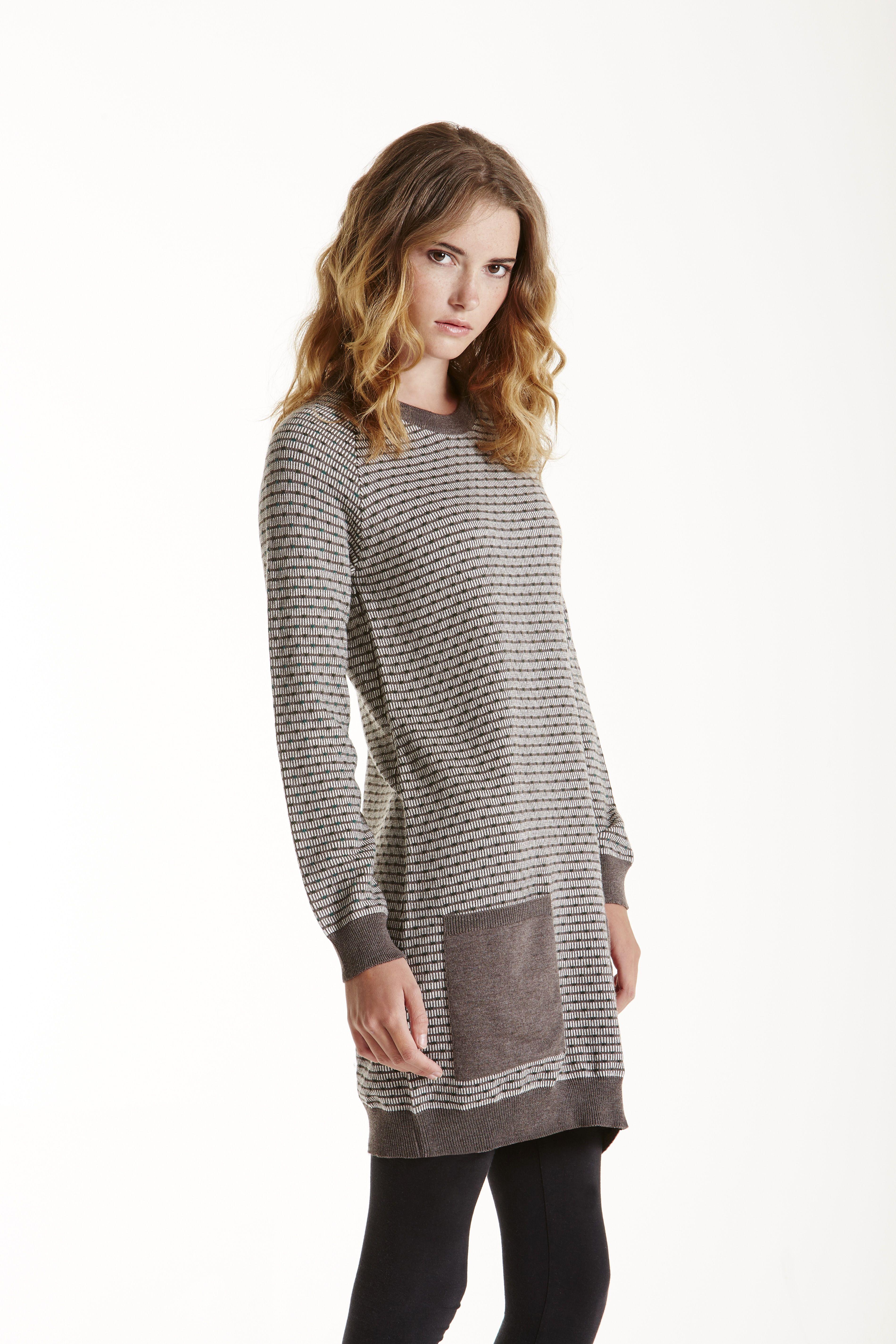 Anna merino jumper dress in mink with front pockets