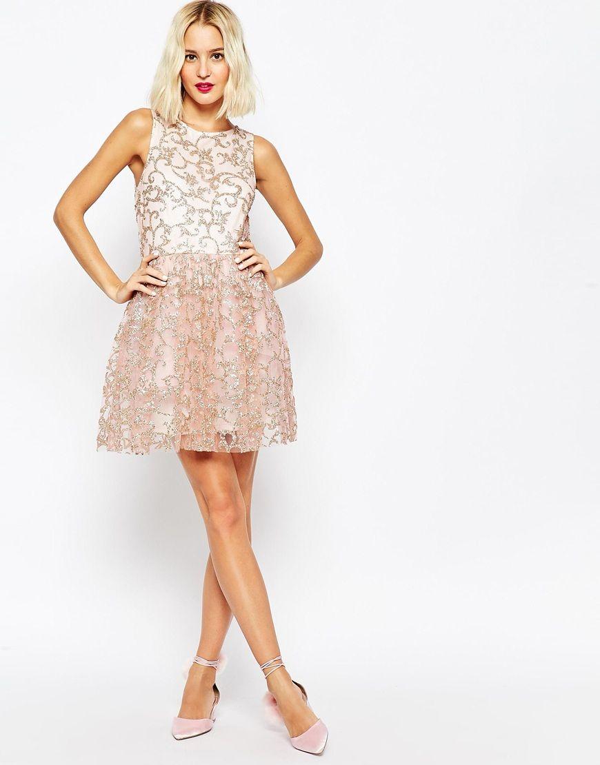 Image of asos sparkle mesh glitter mini prom dress cloth part