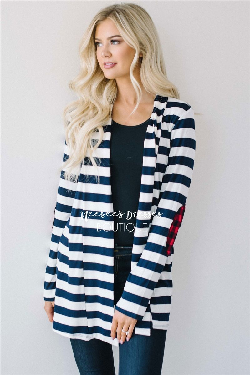 Red and black flannel cardigan  Navy Stripe Plaid Elbow Patch Cardigan  Open front cardigan Red