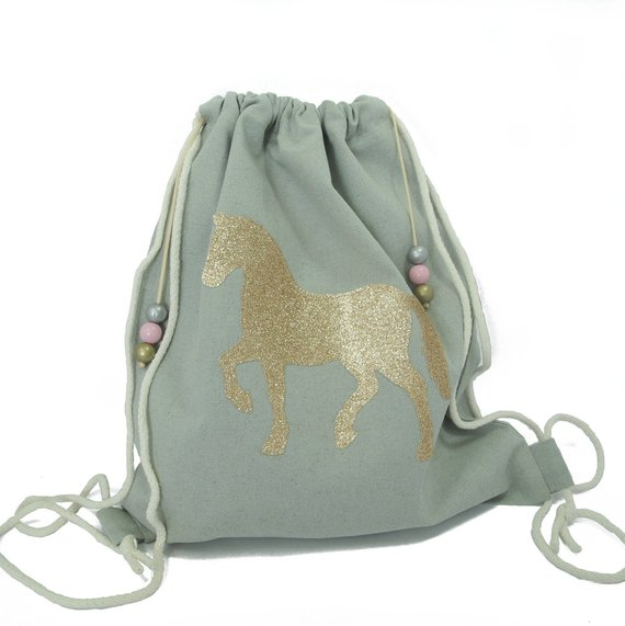 074f4c095142 Cute Drawstring Backpack with Pony - Kids Gymnastics Bag - Gift for  Equestrian Girls