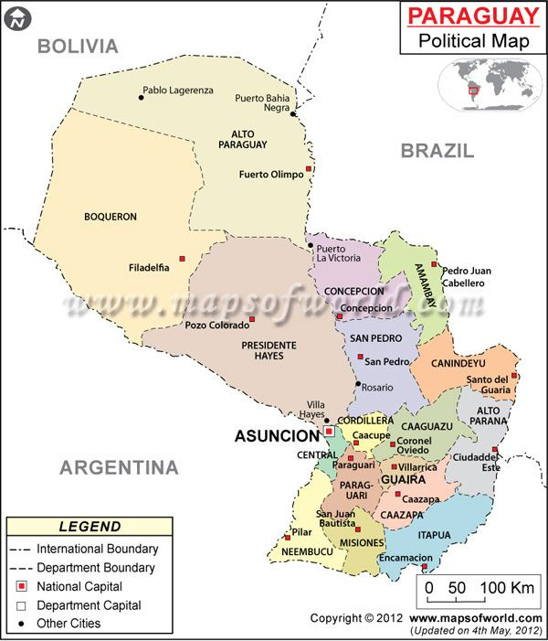Political Map of Paraguay depicting Paraguay Departments cities