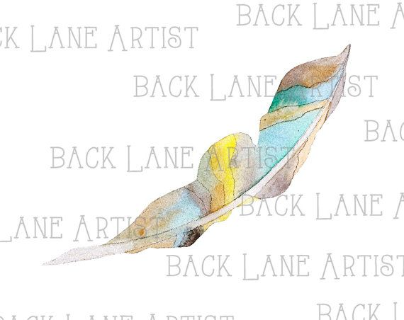 Bird Feather 4 Clipart Lineart Illustration by BackLaneArtist