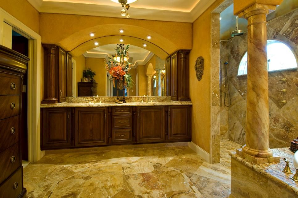 Tuscan Style Bathroom Designs Stunning Simple Hot Chocolate Three Ways  Tuscan Bathroom Stone Columns Inspiration Design