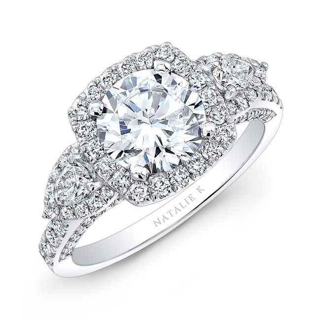 natalie k three stone ring ft white round diamond center and halo with pear shaped sides - Square Diamond Wedding Rings
