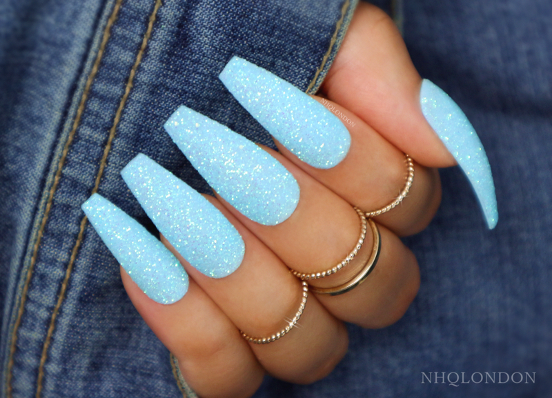 Baby Blue Glitter Long Coffin Nails Super Pretty With An Unreal Glittery Sparkle You Ll B Blue Glitter Nails Acrylic Nails Coffin Glitter Blue Acrylic Nails