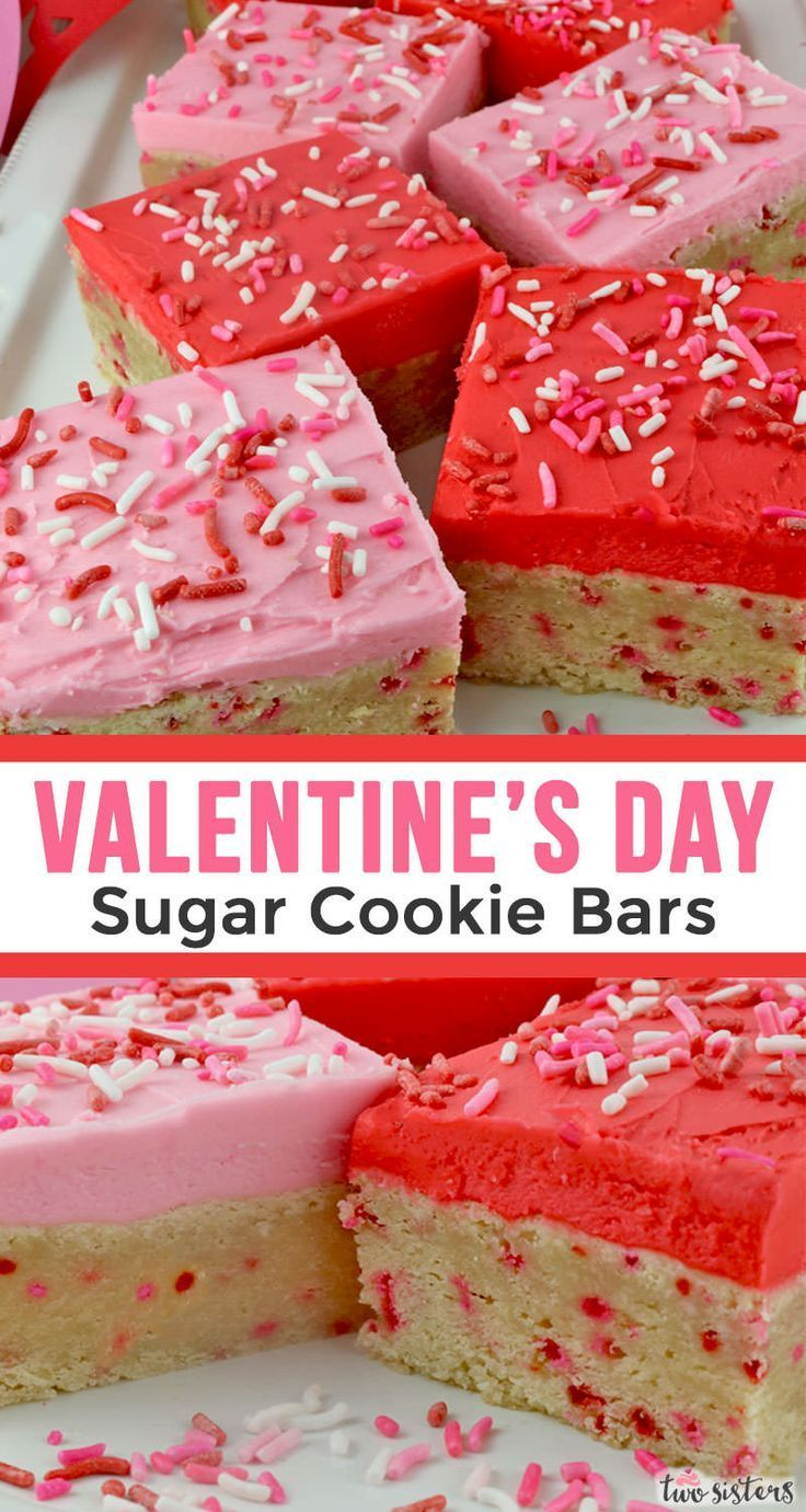 Valentine's Day Frosted Sugar Cookie Bars - #bars #cookie #Day #Frosted #Sugar #valentines