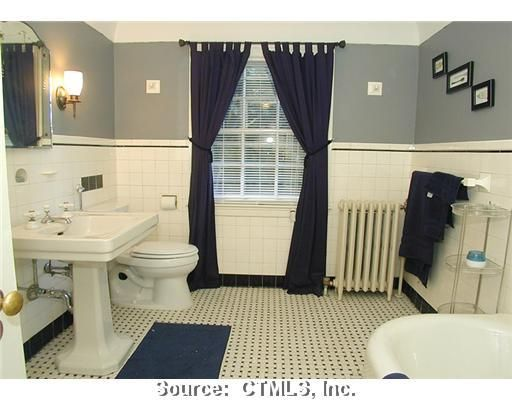 Navy, grey, and white bathroom, Manchester, Connecticut   For the ...