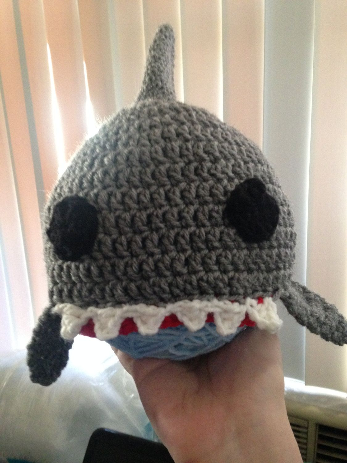Shark Hat Gray Shark Photo Prop Grey Shark Toque Crocheted Beanie Great  White Baby Hat Scary Design Inspirations