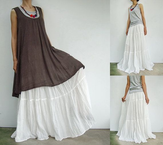 0ba5ef08d7 NO.5 White Cotton Gauze, Hippie Gypsy Boho Tiered Long Peasant Skirt ...