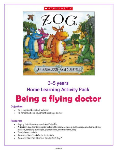 Photo of Zog Home Learning Activity Pack 0-5 years