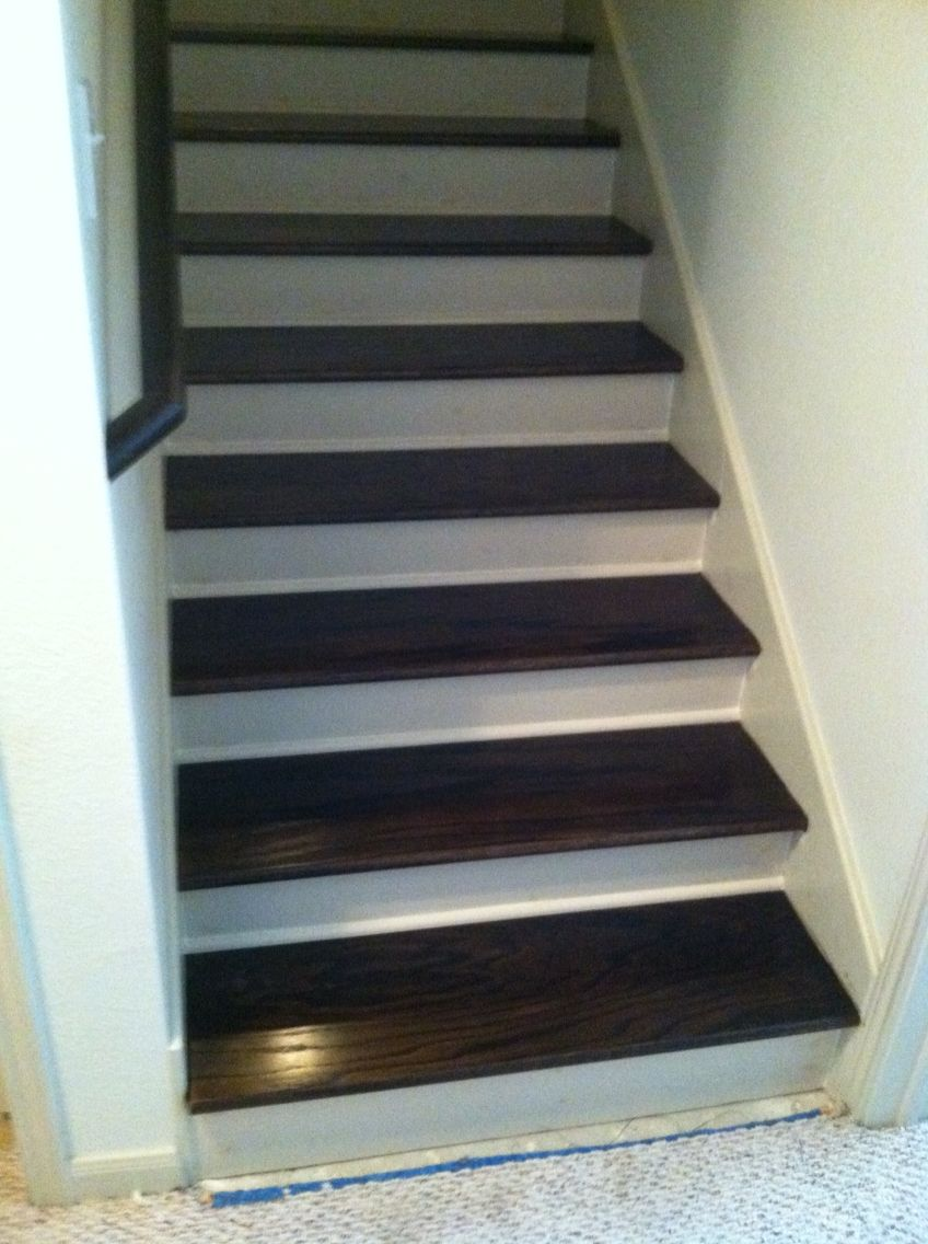 Best Red Oak Hardwood Stair Treads Stained Kona With Lewan 640 x 480