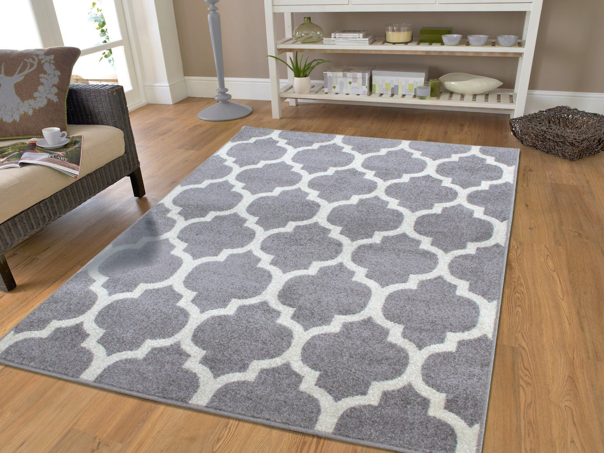 Luxury Large 8x11 Gray Moroccan Trellis Area Rug Grey And White Contemporary Rugs For Living Room