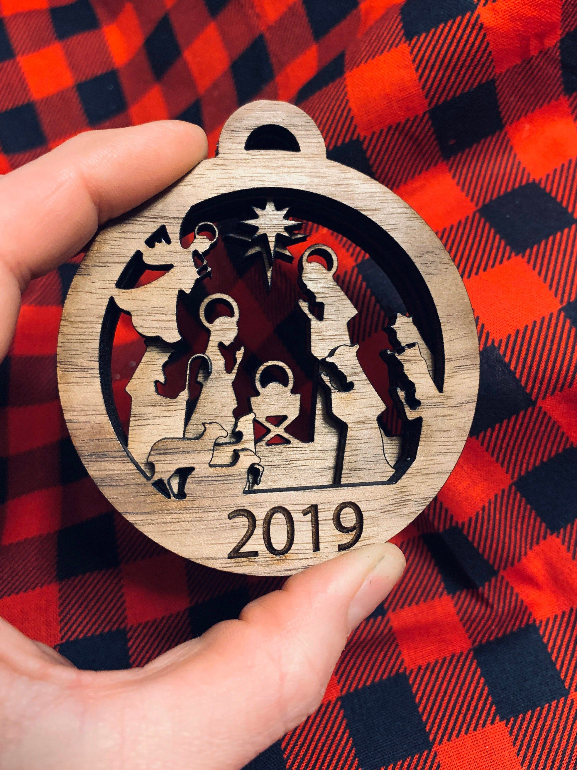 Layered Nativity Christmas Ornament Round, Wood Engraved
