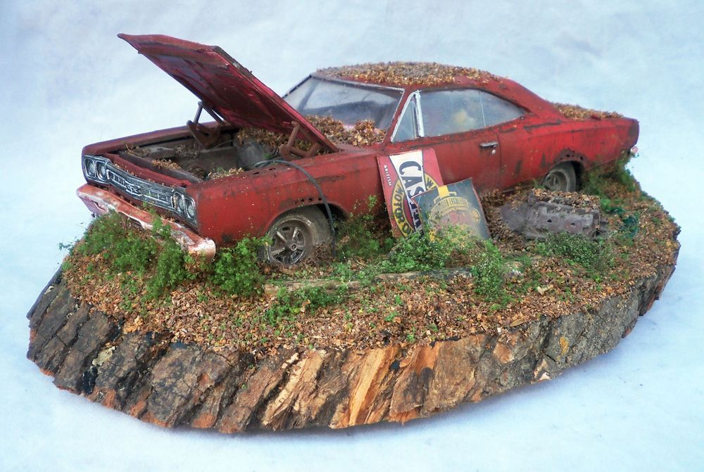 1969 Plymouth GTX Barn Find Weathered Pro Built Diorama AMT 1 25 Plastic Model CarModel