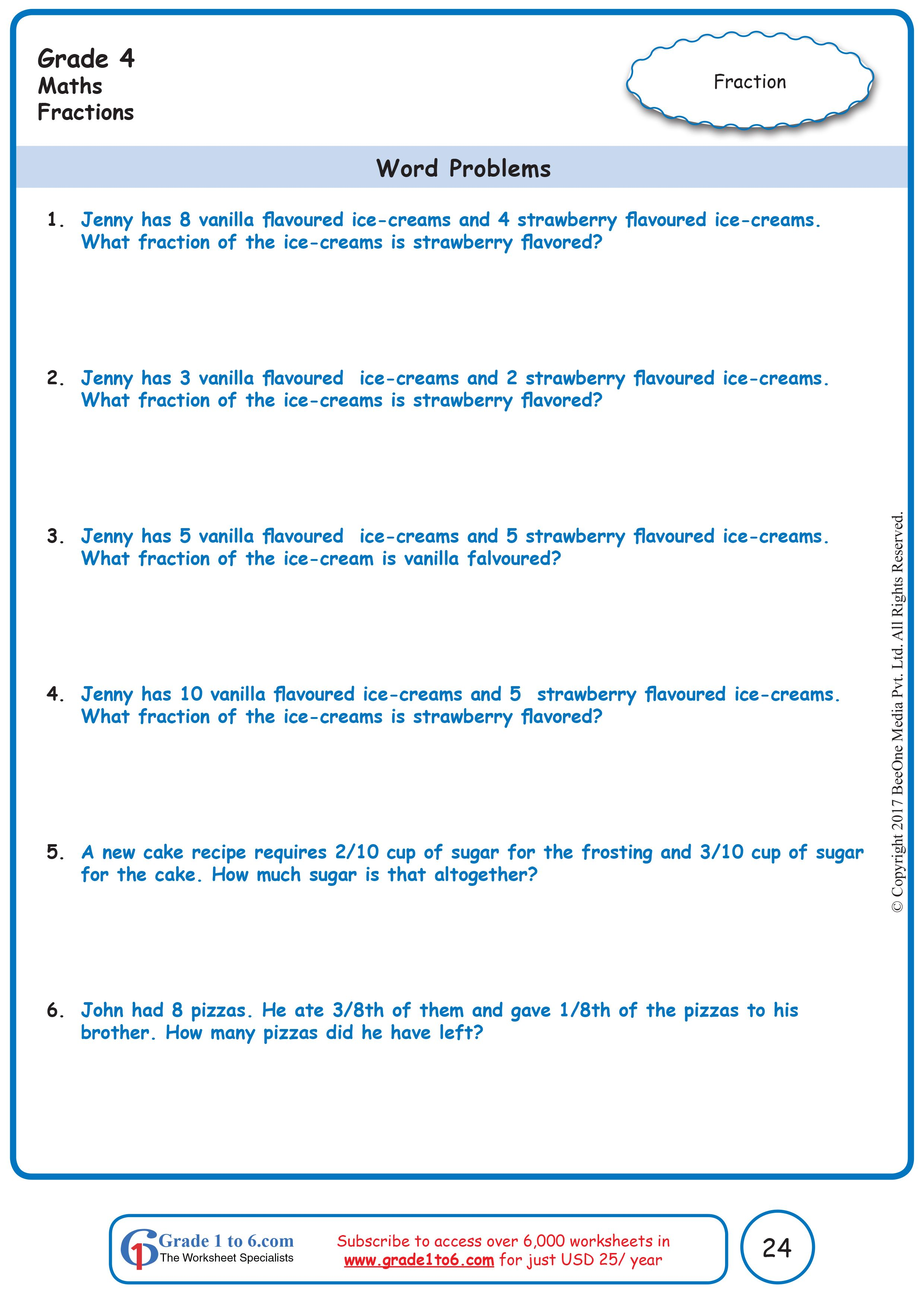 Word Problems In Fractions Word Problem Worksheets Math Word Problems Fraction Word Problems