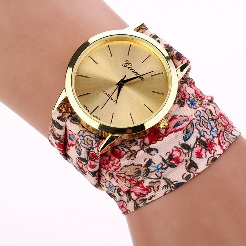 Hot New brand luxury geneva watch women Fabric Analog Quartz Bracelet Dress Wrist Watch White Pink