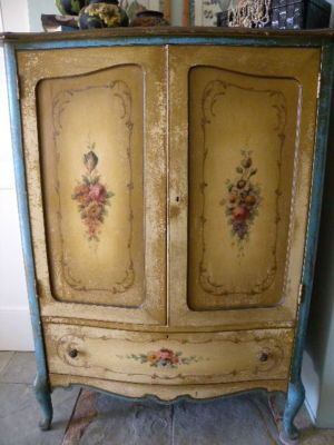 1930's French Painted Chiffonier Dresser ~ Rose Bouquet
