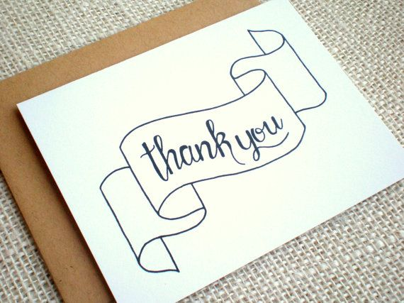 Set Of  Thank You Cards  Simple Hand Drawn Thank You Note Cards