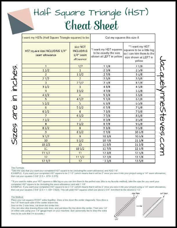 Half Square Triangle Hst Cheat Sheet And Tutorial