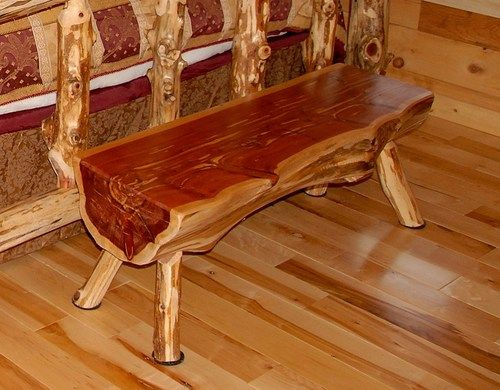 4 Ft Log Bench Rustic Red Cedar Hancrafted Log Furniture