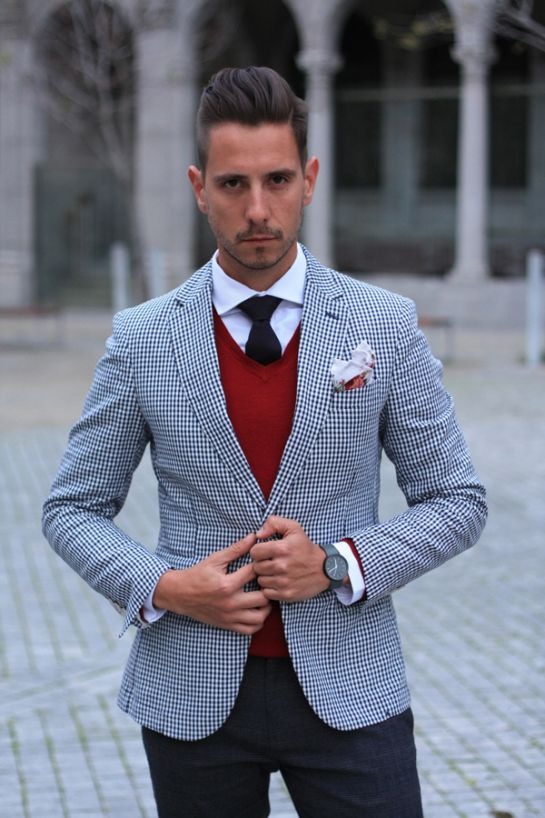 Gingham blazer, red v neck sweater, white shirt, navy tie, floral ...