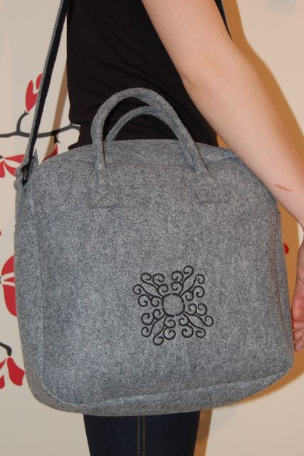 Handmade Bags gift idea by Kamila Grzywna found on MyOwnCreation: Grey bag made of felt (4mm) with embroidery.Long adjustable strap.3 pockets inside.30cm x 30cm x 10cm