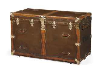 AN AMERICAN CANVAS-COVERED, BRASS AND LEATHER-BOUND CABIN TRUNK  BY MARSHALL FIELD & CO. OF CHICAGO, EARLY 20TH CENTURY  Images