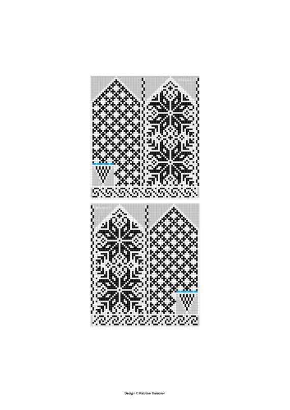 Selbu Mittens - Norwegian Rose - Pattern - Knitting Chart - Diagram ...