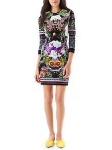 5951bec7fb Black Challis Long Sleeve Petals Flowery Floral Dress -SheIn(Sheinside)