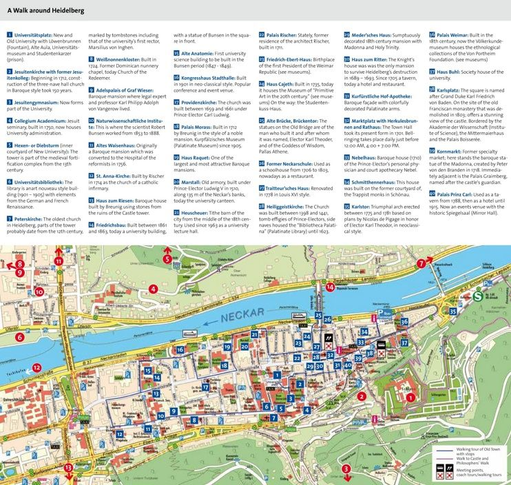 Heidelberg tourist attractions map Maps Pinterest Heidelberg