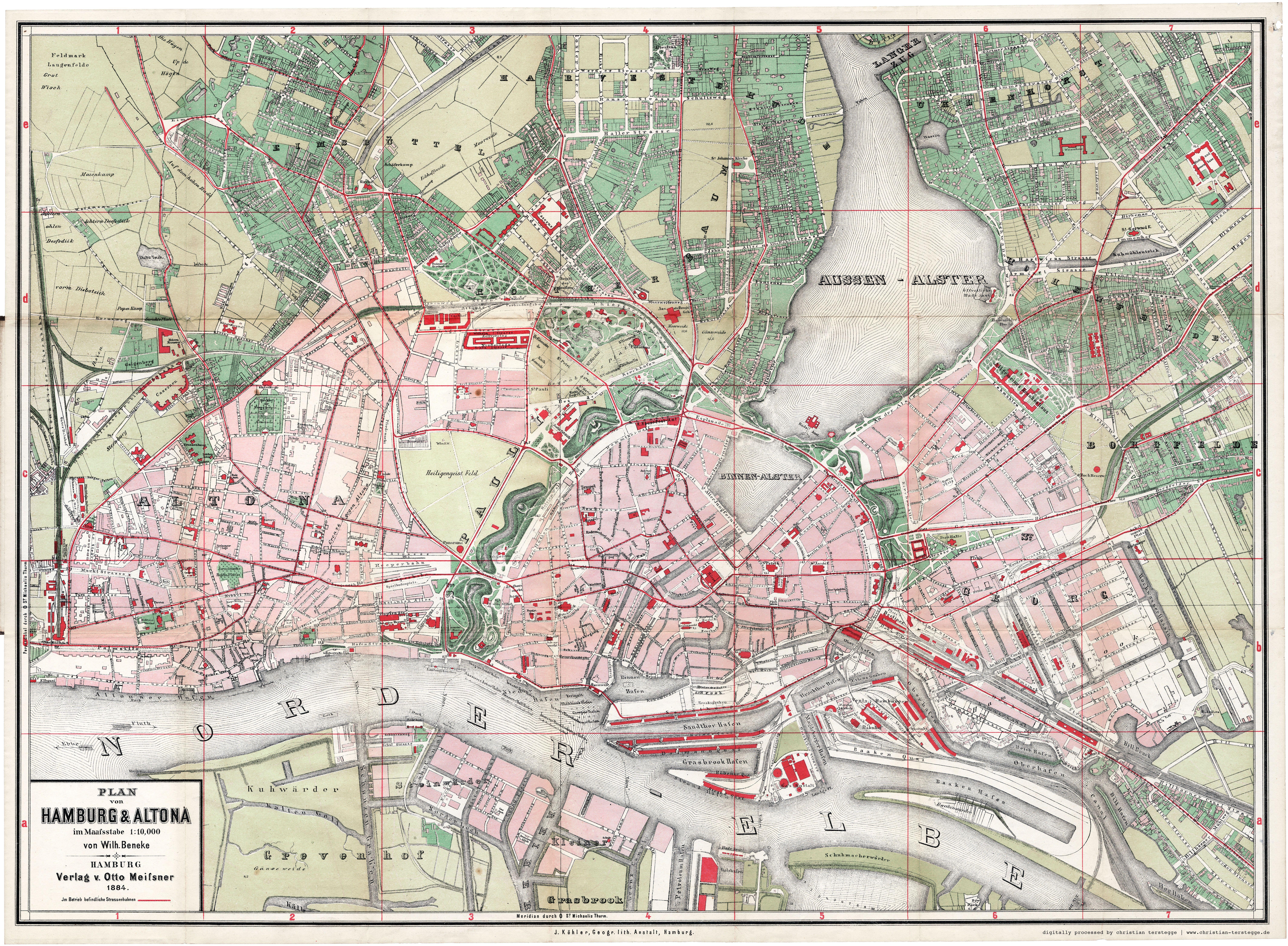 Karte Hamburg Altona 1884 Hamburg Altona Hamburg Illustrierte