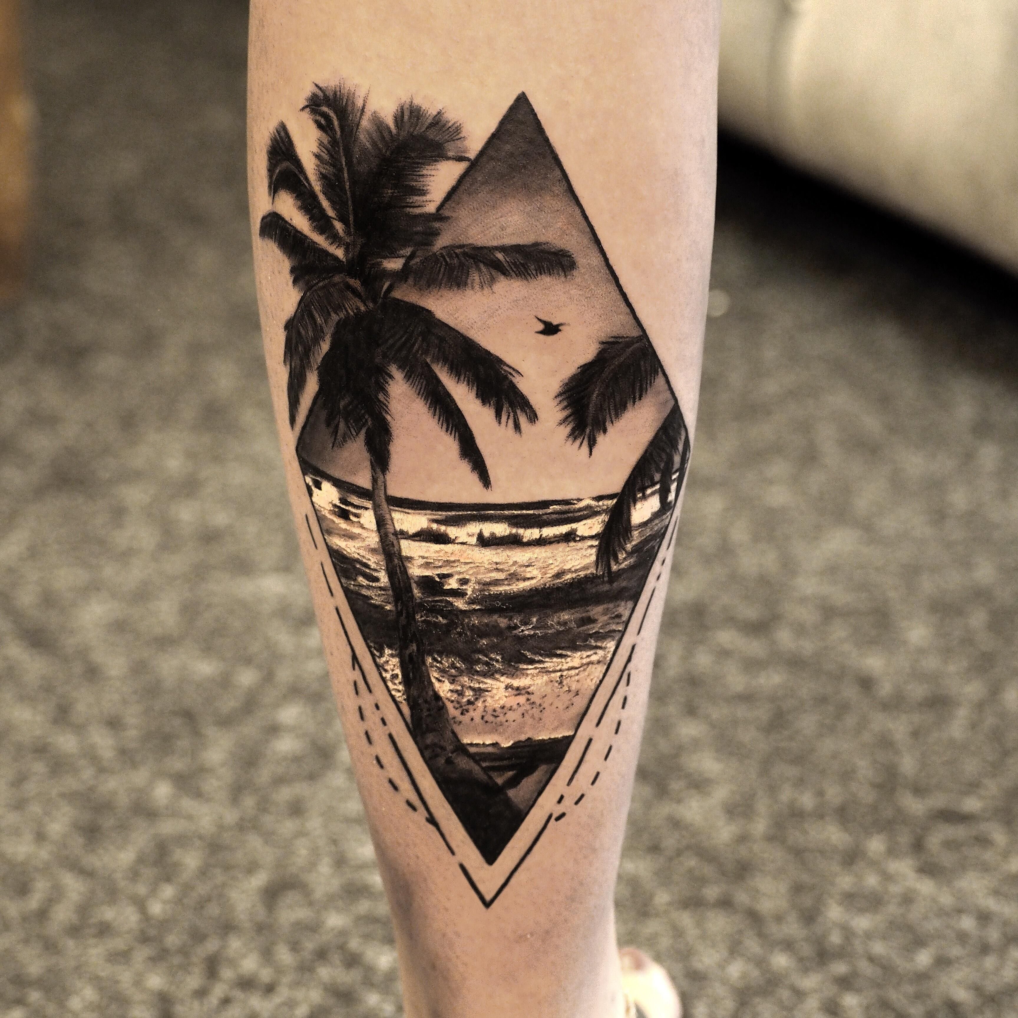 Custom palm tree design done by me! Sunset tattoos, Palm