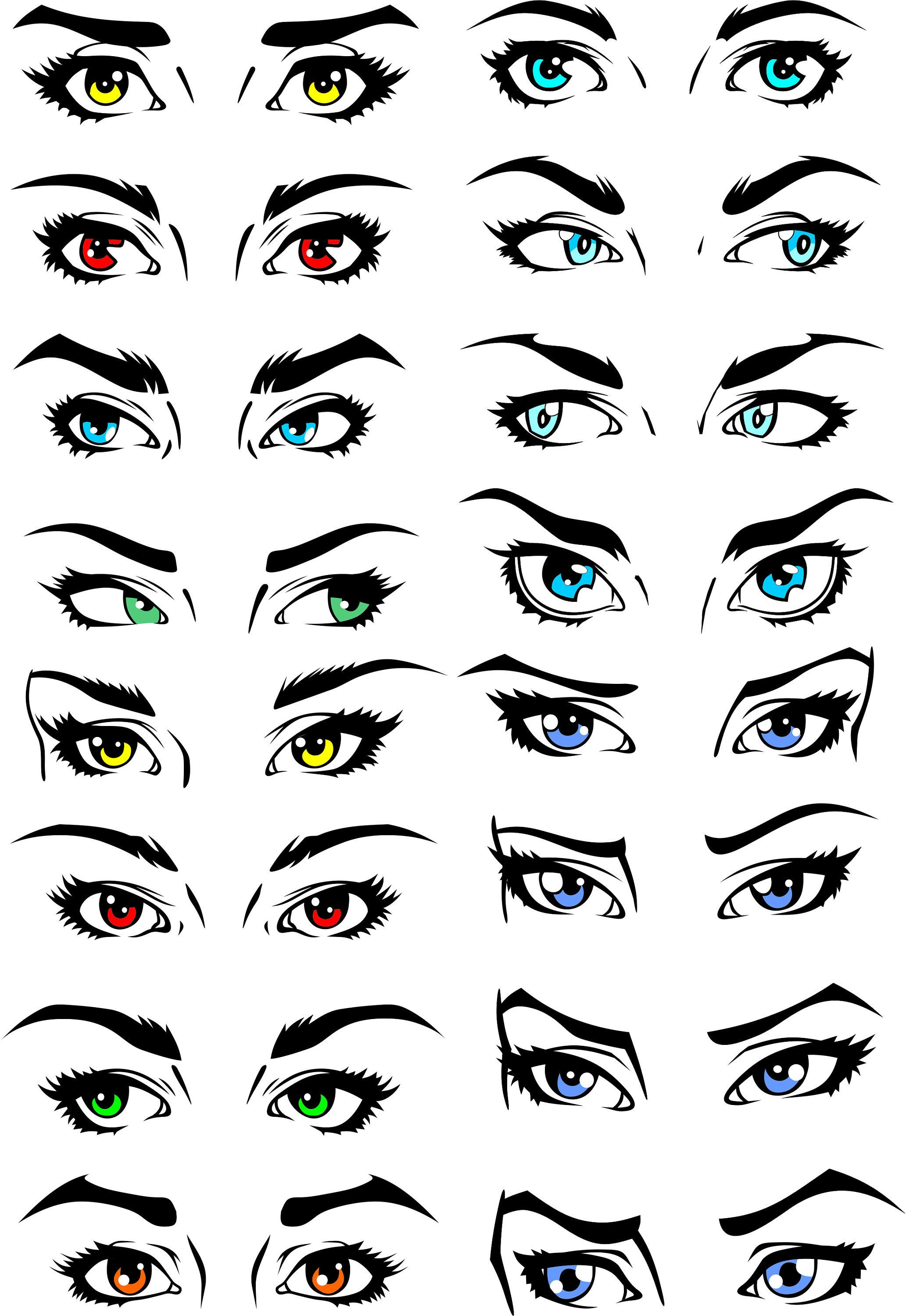 Set Of Human Eyes Clipart Shine Look View Svg Cdr Png Etsy In 2020 Eyes Clipart Girl Eyes Drawing Anime Eyebrows