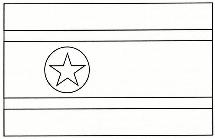 The National Flag Of Northkorea Coloring Page | World map ...
