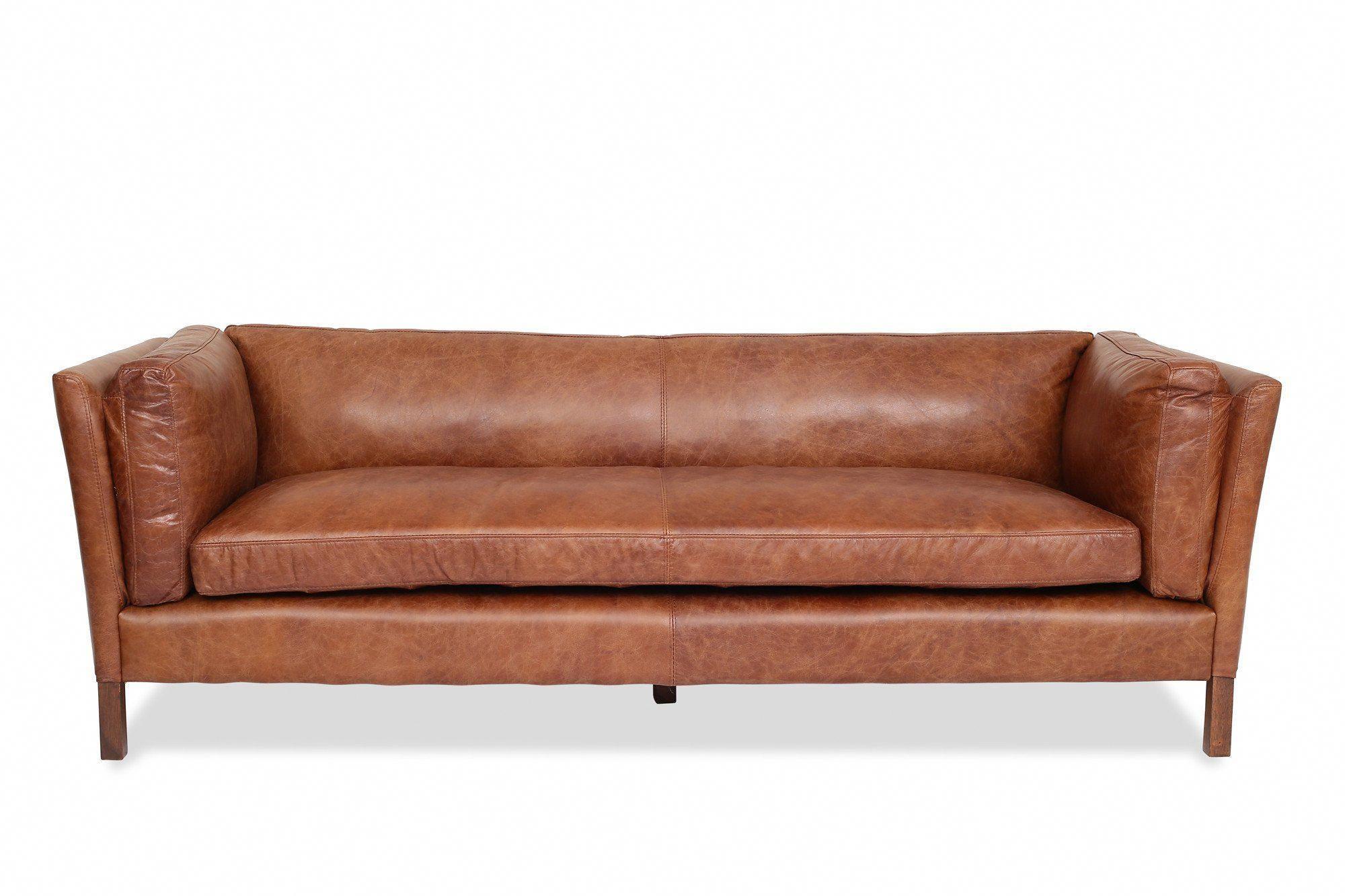 Edloe Finch Finley Cognac Leather Sofa