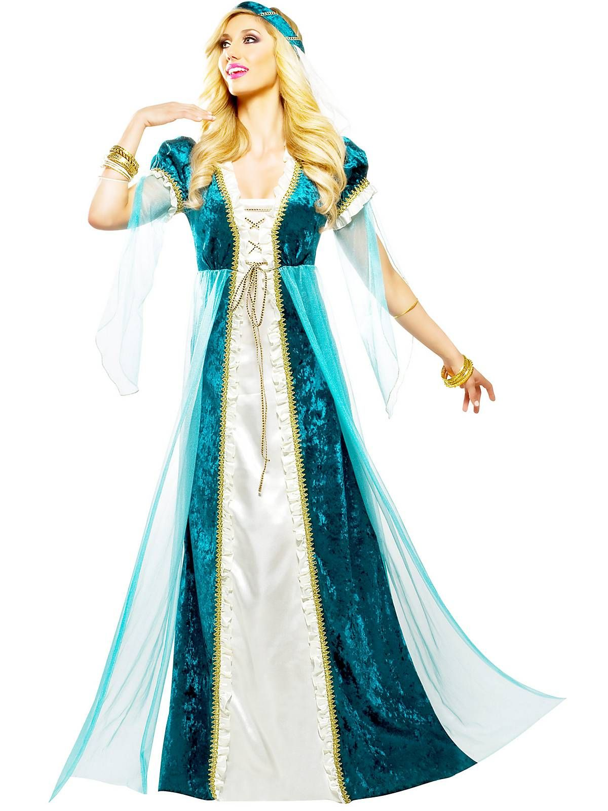 Brand New Lady Guinevere Renaissance Adult Costume Teal