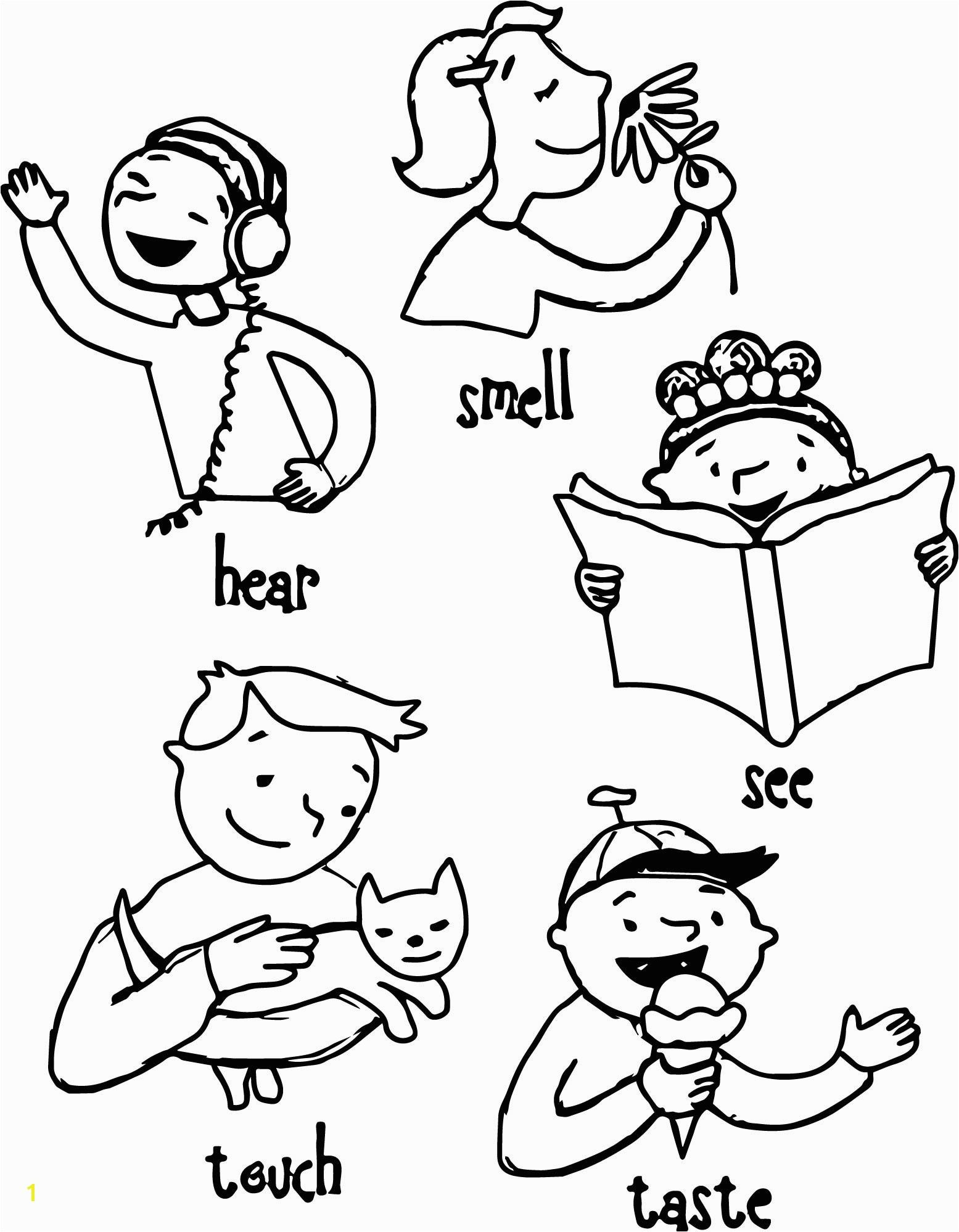 Five Senses Coloring Pages Free Five Senses Coloring Pages