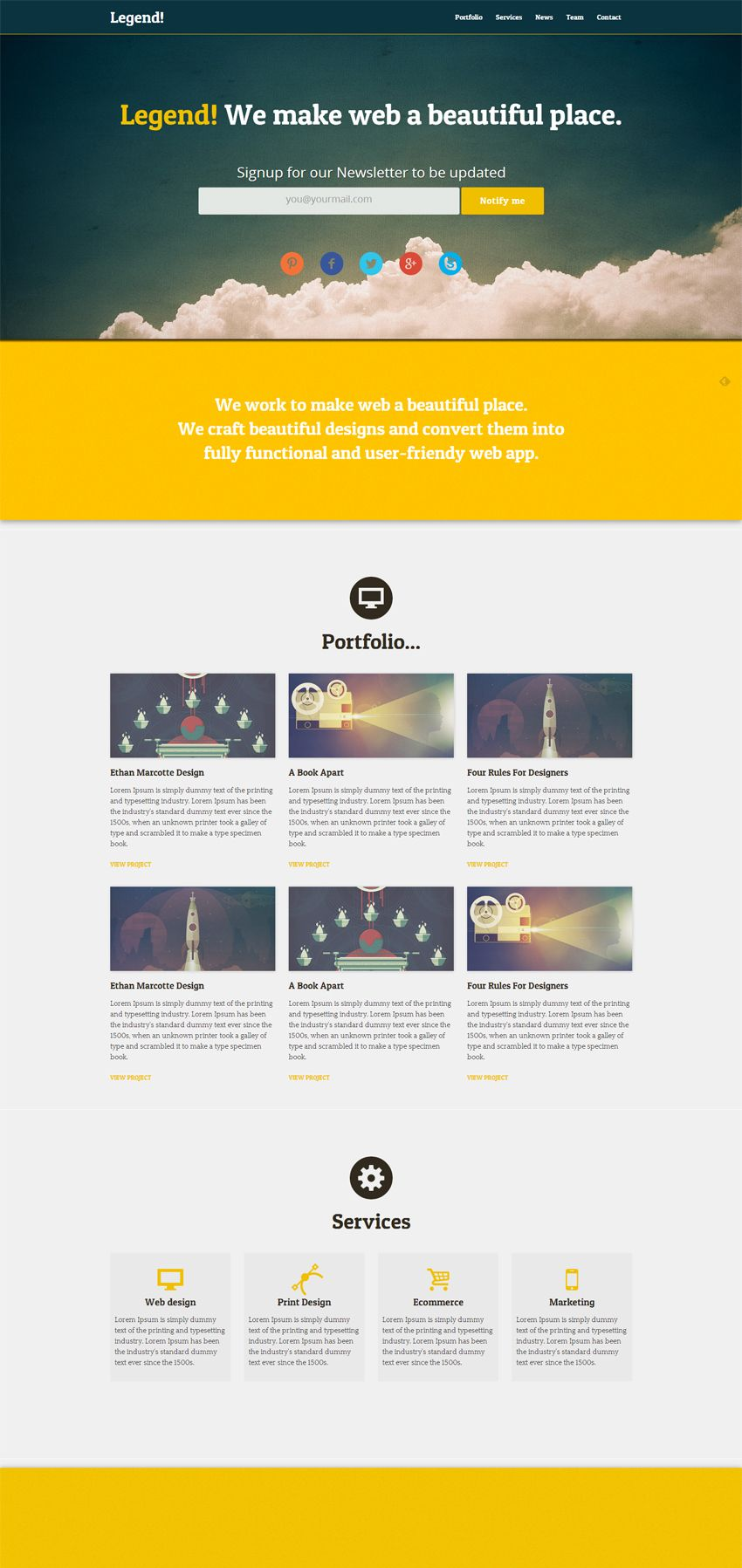Legend Free Responsive One Page Html Template Web Design Freebies Web Design Web Design User Interface