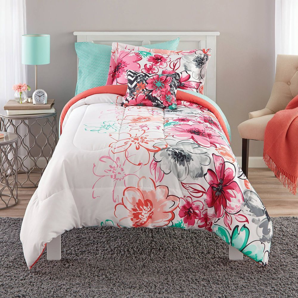 Teen Girls Bedding Twin Mint Green Floral Comforter Set Teal Coral Bed -6002