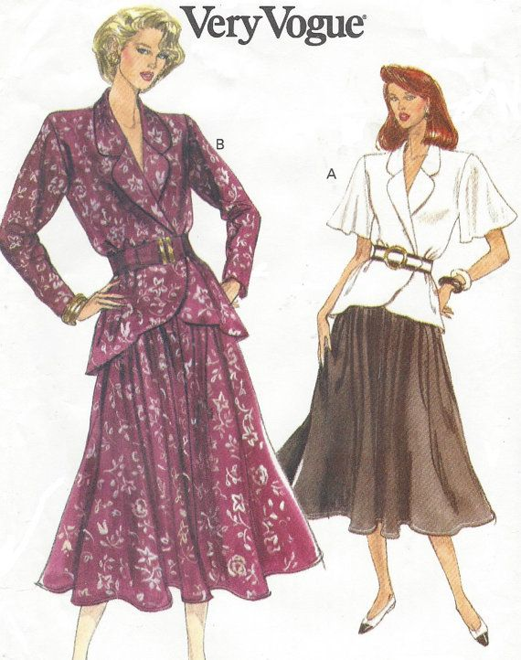90s Womens Peplum Wrap Top and Flared Skirt Vogue Sewing Pattern ...