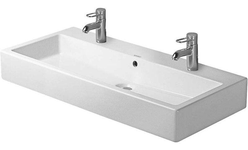 Duravit Vero White Ceramic Rectangular Wall Mount Bathroom Sink With Overflow Wayfair In 2020 Trough Sink Bathroom Wall Mounted Bathroom Sinks Duravit