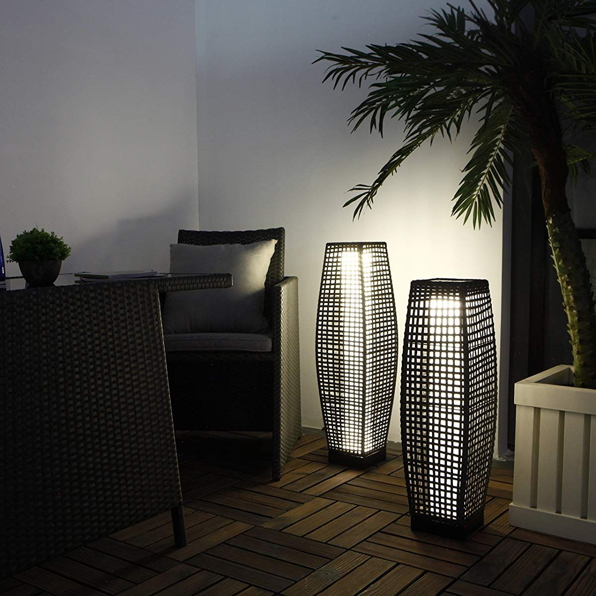 Weather Resistant Rattan Floor Lamp For Patio Deck Path And